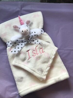Personalised Baby Blanket And Comforter Embroidered Unicorn comforter