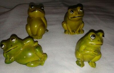 Vintage Light Green Ceramic Frog Figurines Different Poses Made/Hong Kong