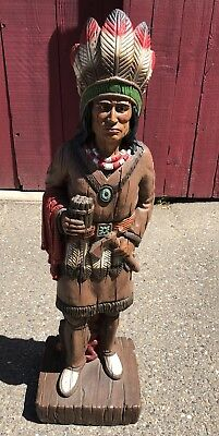 Vintage 3-1/2 Ft Cigar Store Indian Universal Statuary Corp Chicago Rare