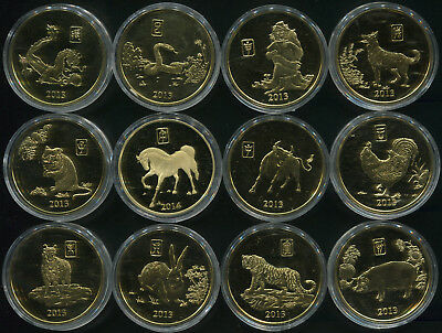 Korea. Coins set #19 (12 coins. Proof-Like) 2013-2014. Chinese zodiac