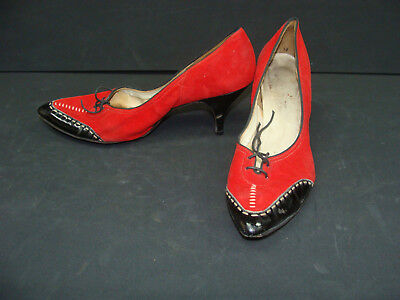 Vintage Red Suede Pumps Heels Black Leather Tips B Width Soles Laces NR