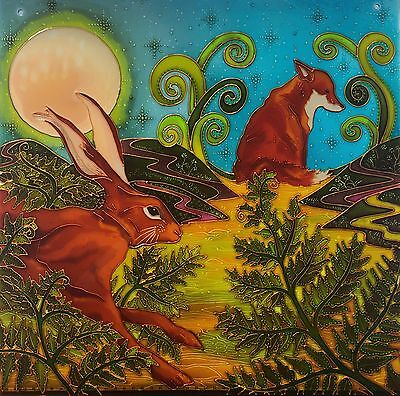 The hare and the Fox. Original Stained glass style hand painted panels by Debs