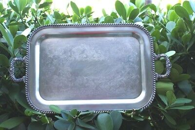 Vintage  Silver Plate Platter Serving Tray / Handle Heavy
