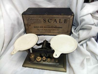 Vintage PELOUZE Laboratory Scale & w/Weights and Original Box