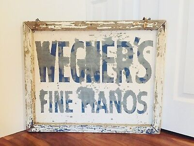 Antique 1930's Piano Store Sign – Advertising – Hand Painted Metal – Wood Fram