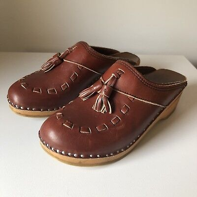 Vintage Womens Bastad Original Wooden Clogs Sweden 39 Brown Leather Tassle Woven