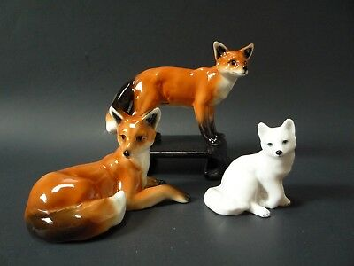 Seagull Decor Porcelain 2 Red Foxes 1 White Arctic Fox Figurines Franz Enesco