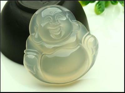 Chinese Beautiful Natural White Jade Hand-carved Jadeite Pendant Buddha God