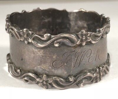 Antique Vintage Sterling Silver .925 Handmade Hand Crafted Napkin Ring Patina+