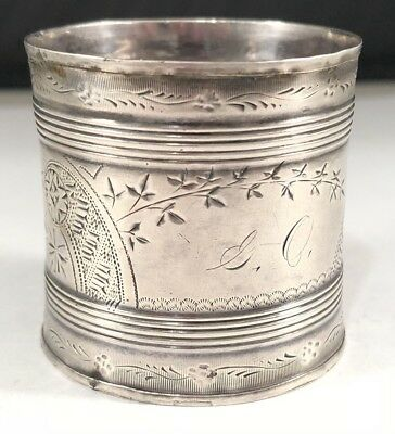 Antique Sterling Silver 925 Handmade Hand Crafted Detailed Engraved Napkin Ring