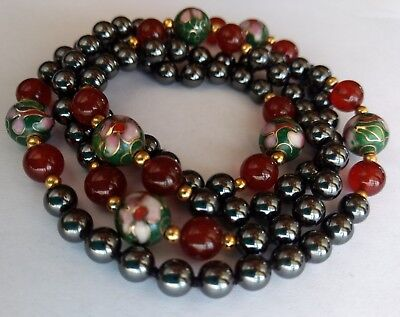 """CHINESE CLOISONNE BEADED NECKLACE w AMBER & TITANIUM HAMDSOME ENAMEL FLORAL 32""""L"""