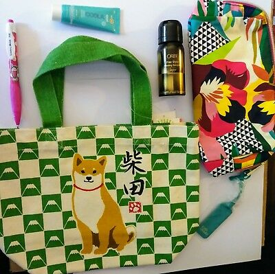 """Shiba Inu Dog"" Small Tote Bag Green Plaid by Wasabi *NEW*Japan+makeup bag xtras"