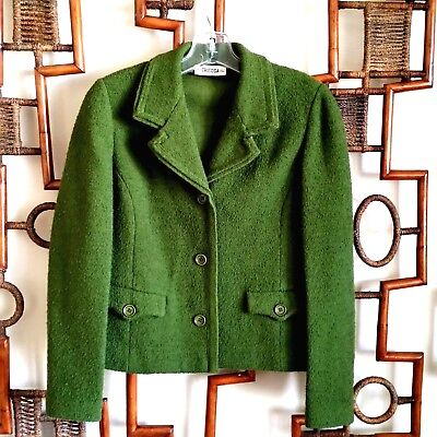 Vintage 60s Small Blazer Jacket Green Tricosa Made in Paris France Wool Pure Lai