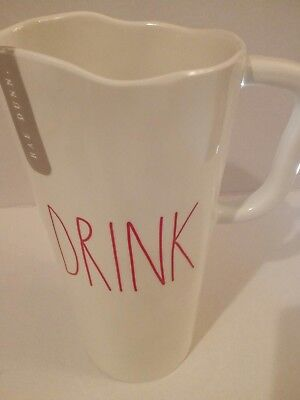 "BRAND NEW RAE DUNN DRINK Pour Melamine Pitcher 9"" Tall Red Large Letters"