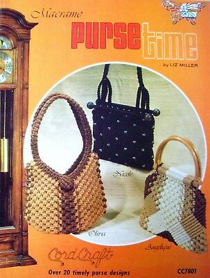 Vintage Macrame Book 1978 - PURSE TIME - Liz Miller 20+Designs Knots Techniques