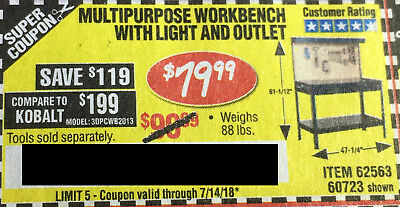 Harbor Freight Tools Coupon For Multipurpose Workbench With Light And Outlet