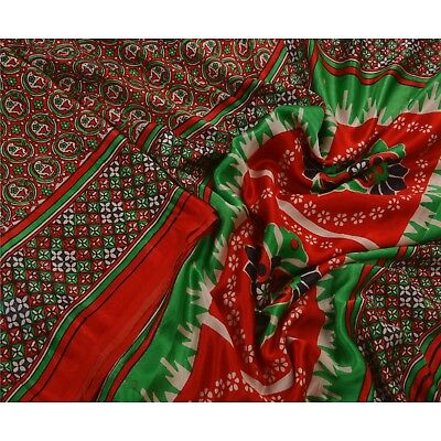 Sanskriti Antique Vintage Red Saree Pure Satin Silk Printed Craft Fabric Sari
