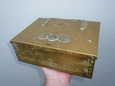 An Arts & Crafts Brass Combination Lock Strong Box c1900