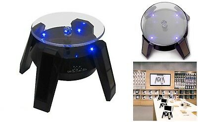 Rotating Display Stand 360 Degrees Rotation Solar Powered With Blue LED Lights