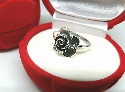 925 Sterling Silver Rose Flower Byzantine Ring Size 5-10