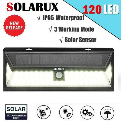 120 LED SOLARUX Solar Power PIR Motion Sensor Outdoor Garden Security Wall Light