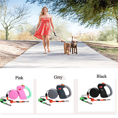 Pet Lead Leash Retractable Dual Dog Walking Leash 50 Pounds For Dog 2 Ways 3 M