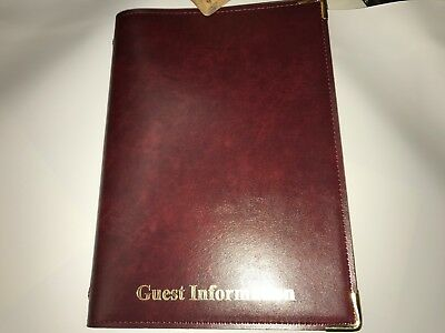 Pu Stitched Faulk Leather Look Guest Information Folder - Top Quality Burgundy