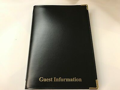 Pu Stitched Faulk Leather Look Guest Information Folder - Top Quality Black