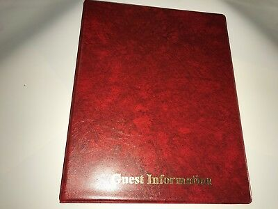 Pvc RED  LEATHER LOOK GUEST INFORMATION BINDER - TOP QUALITY + 20 MULTIPUNCH