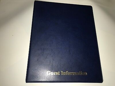 Pvc BLUE  LEATHER LOOK GUEST INFORMATION BINDER - TOP QUALITY + 20 MULTIPUNCH