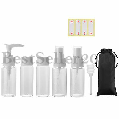 7pcs Empty Portable Clear Plastic Travel Spray Bottles Cosmetic Toiletries 40ml