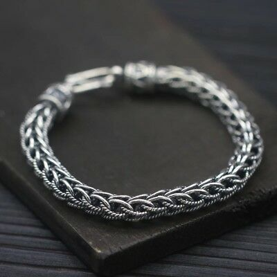 Solid 925 Sterling Silver Hallmarked Mens Heavy Chain Clasp Cuff Bracelet 20cm