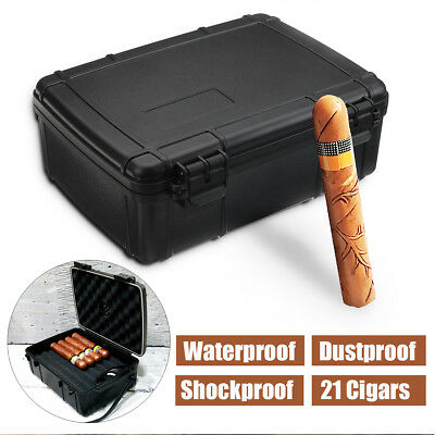 21 Cigar Caddy Case Box w/ Humidor Waterproof Dust-proof Shockproof Home Travel