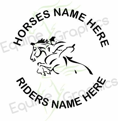 Personalised Horsebox / trailer sticker decal Horse Jump Line art graphics
