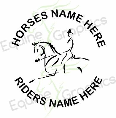 Personalised Horsebox / trailer sticker decal Horse Dressage Line art graphics