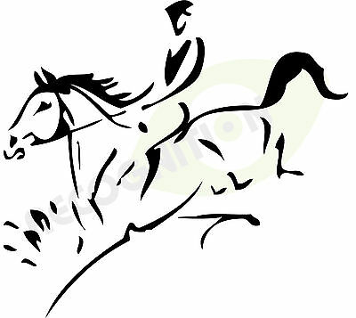SILVER Horsebox / trailer sticker decal HORSE EVENTING JUMPING Line art graphics