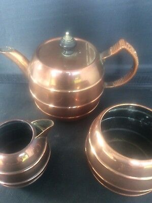 Arts & Crafts British Made Copper Tea for one Bachelor Set Rd Trade Mark