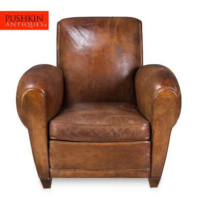 ANTIQUE 20thC FRENCH SHEEPSKIN LEATHER ARMCHAIR c.1920