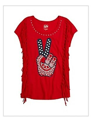 aae52fe83d NWT Justice Girls Glitter Peace Boho Red White Blue 4th of July Tank Top 12