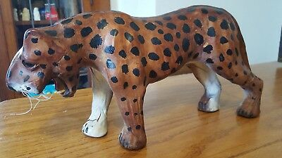 "Vintage Handmade Leather Leopard Figurine Statue Sculpture 13"" Long x 6"" Tall"