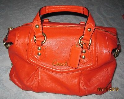 Coach Ashley Leather Burnt Orange Convertible Travel Satchel Tote Bag F19247 9436d89738