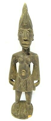 Antique Old Tribal Art African Warrior Standing Carving Figure Carved Wood