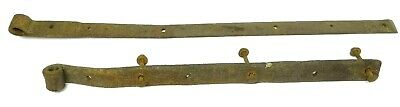 Two Antique Old Metal Wrought Iron 1800s Barn Straps Hardware Hinges Parts Used