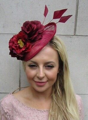 Burgundy Wine Red Feather Flower Sinamay Disc Saucer Hat Fascinator Races 5881