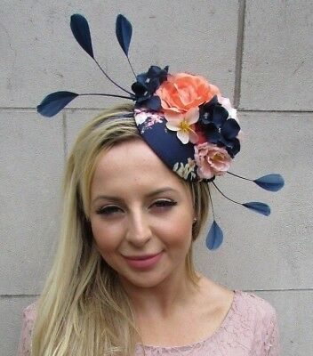 Navy Blue Coral Pink Rose Flower Feather Hat Fascinator Races Wedding Hair 7587