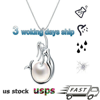 "925 Sterling Silver Freshwater Pearl Mermaid Pendant 18"" Chain Necklace Gift"