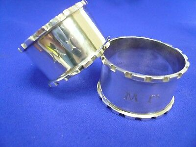 Made in England 1923-24 by H. Matthews Sterling Silver 2 Napkin Rings Engraved