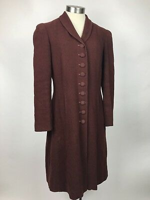 VTG 1930s Wool Coat Brown Boucle Puff Sleeve Button Front Princess Medium AS IS