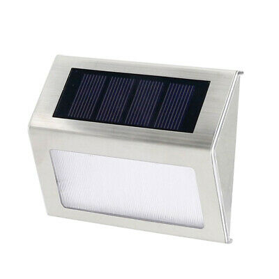 LED Solar Powered Lamp Light Garden Outdoor Steel Stairs Lights Wall Lamp