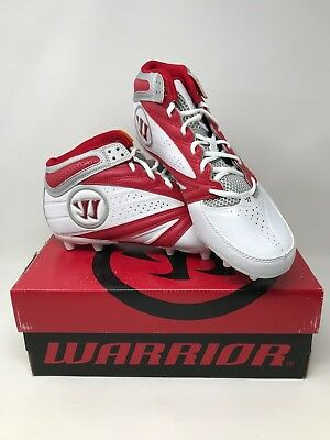 New! Men's Warrior WMSSM3RD Second Degree 3.0 Lacrosse Cleats - White/Red X8